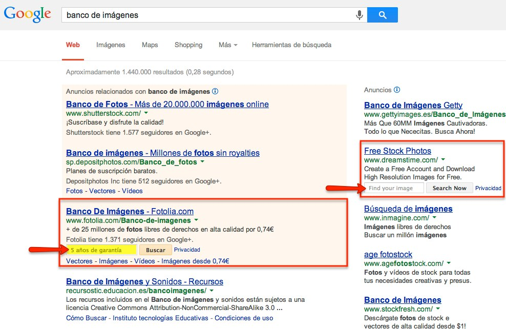 extensión de búsqueda en el sitio para anuncios de Adwords