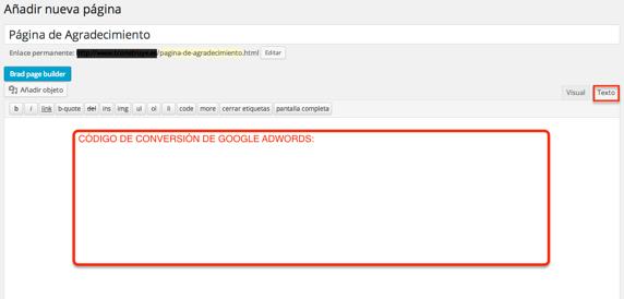 añadimos código de conversión de Adwords en página de agradecimiento