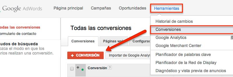herramienta de seguimiento de conversiones de google adwords