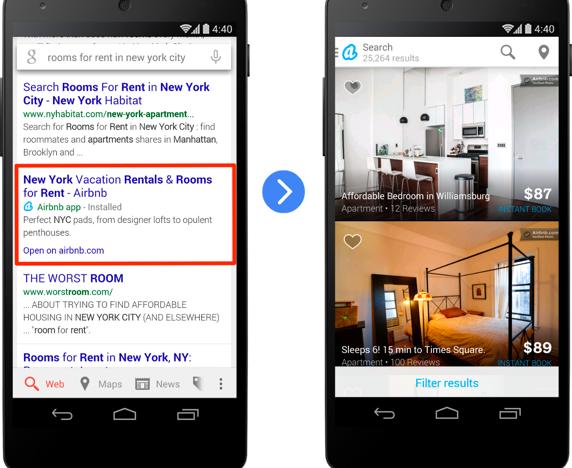aplicación en los resultados de búsqueda de Google