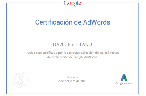 Certificado de Publicidad en Google Adwords: Google Partners David Escolano