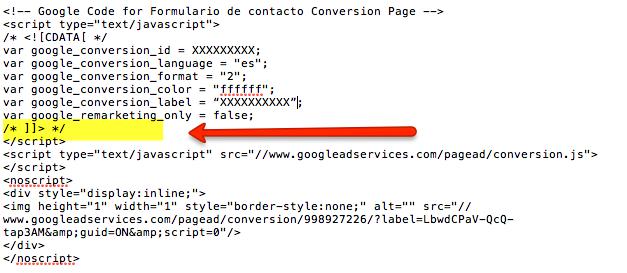 Código de conversión de Google Adwords