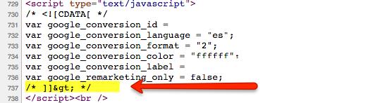 error cdata codigo de conversion adwords
