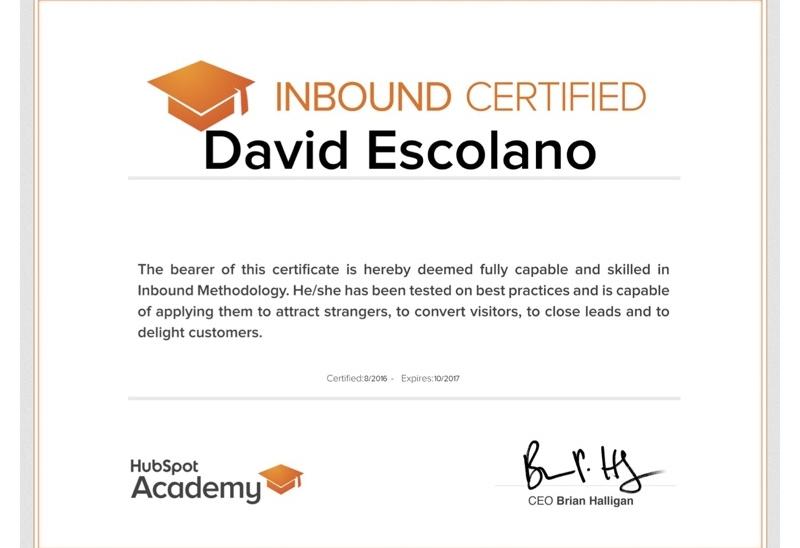 Certificación de Inbound Marketing de David Escolano