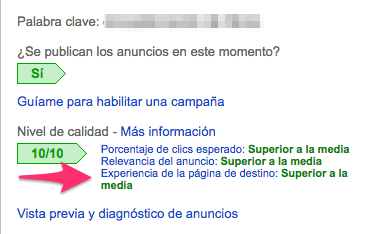 Relevancia de un landing page de adwords