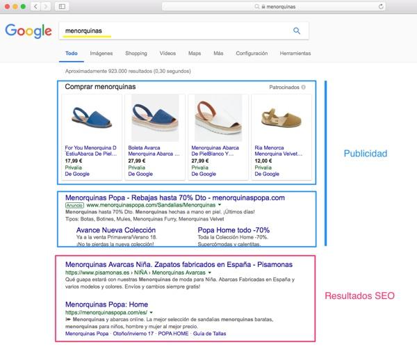 Resultados SEO en Google