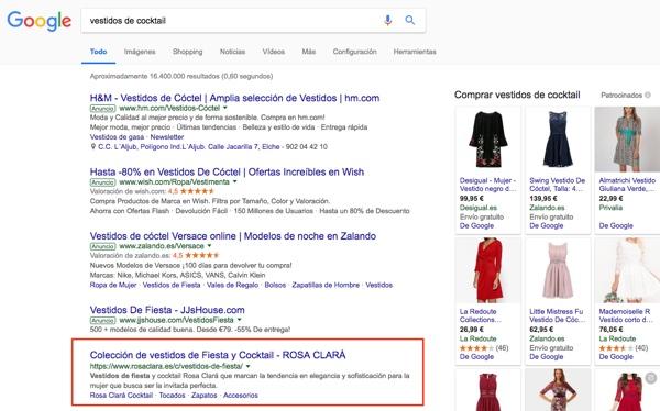 resultados organicos en google